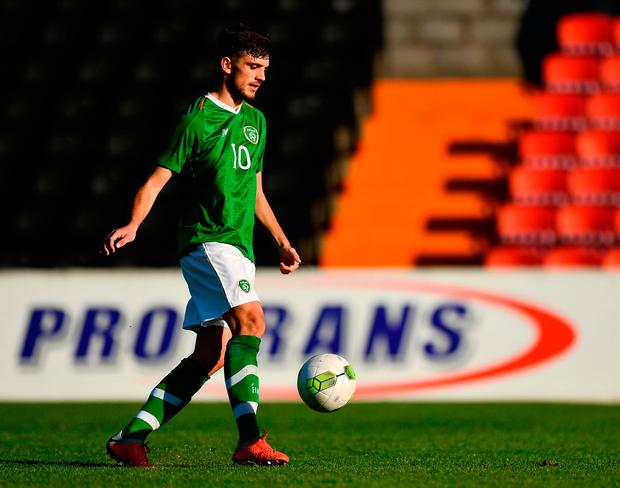 Irish Panenka: Troy Parrott dinks the ball from the penalty spot to score Ireland's second goal in the U-19 European Championship qualifier in Longford yesterday. Photo by Seb Daly/Sportsfile