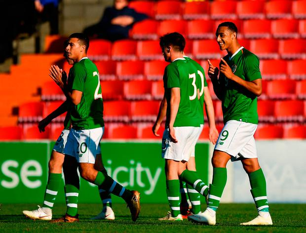 Adam Idah of Republic of Ireland, right, celebrates after scoring his side's third goal. Photo by Seb Daly/Sportsfile