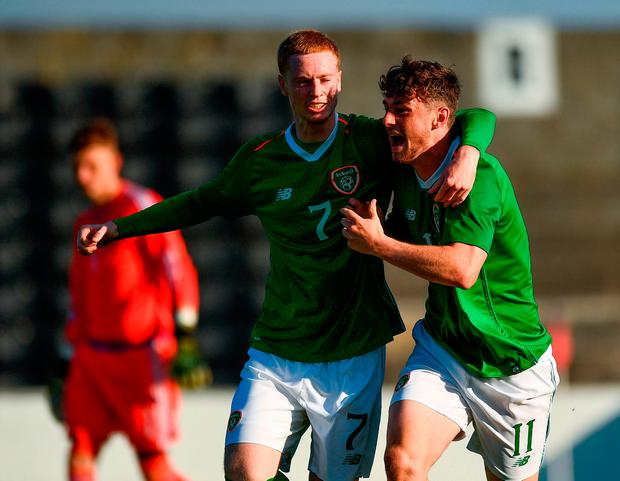 William Ferry of Republic of Ireland, right, celebrates with team-mate Glen McAuley, after scoring his side's first goal. Photo by Seb Daly/Sportsfile