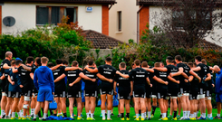 The Leinster squad huddle during squad training at UCD in Dublin. Photo by Ramsey Cardy/Sportsfile