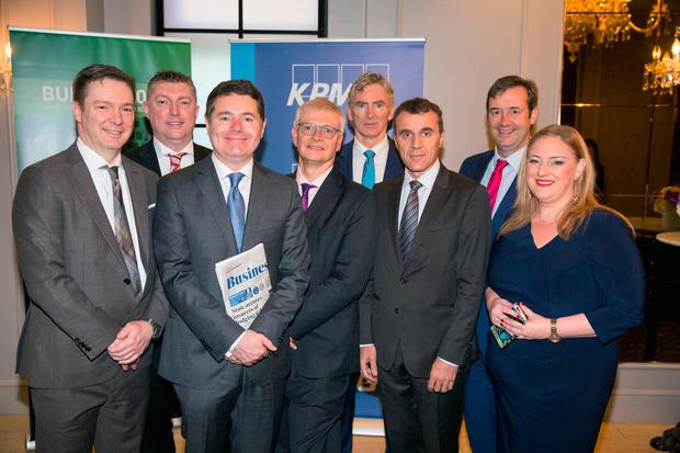 Finance Minister Paschal Donohoe with from left, Reece Smyth, Chargé d'affaires at the U.S. Embassy in Ireland, Conor O'Brien, Head of Tax and Legal Services at KPMG, Robin Barnett, British Ambassador to Ireland, INM CEO Michael Doorly, Stéphane Crouzat French Ambassador to Ireland, Michael D'Arcy Minister of State and INM Group Business Editor Dearbhail McDonald at the Independent News and Media (INM) Events Budget 2019 Breakfast briefing with KPMG at the Westbury Hotel. Pic:Mark Condren