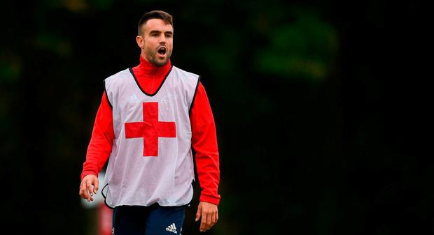 Conor Murray during Munster Rugby squad training at the University of Limerick in Limerick. Photo by Diarmuid Greene/Sportsfile