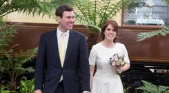 Princess Eugenie and Jack Brooksbank attend the Chelsea Flower Show press day at Royal Hospital Chelsea on May 23, 2016 in London, England | Photo by Heathcliff O'Malley - WP Pool/Getty Images