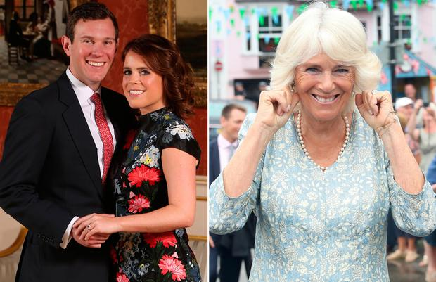 Princess Eugenie with fiancé Jack Brooksbank, left, Camilla, Britain's Duchess of Cornwall, right