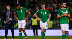 Ireland players, from left, Seamus Coleman, Cyrus Christie, James McClean and Robbie Brady following defeat to Denmark in Dublin