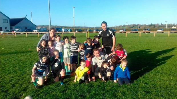 Scarriff U-8s with coaches Christina McKenna, Mike Madden and Shane Gibbon