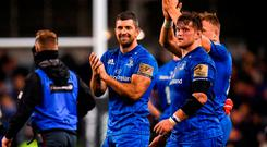 Rob Kearney with Andrew Porter (right) who started on the bench against Munster and stays there for tonight's clash with Wasps. Photo: Harry Murphy/Sportsfile