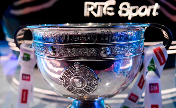 The Sam Maguire Cup pictured before the GAA Championship Draw 2019 at RTÉ Studios in Donnybrook, Dublin. Photo: Piaras Ó Mídheach/Sportsfile