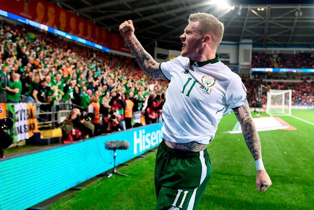 DREAM: James McClean celebrates his goal for Ireland in the World Cup qualifier against Wales last October. Photo: Stephen McCarthy/Sportsfile