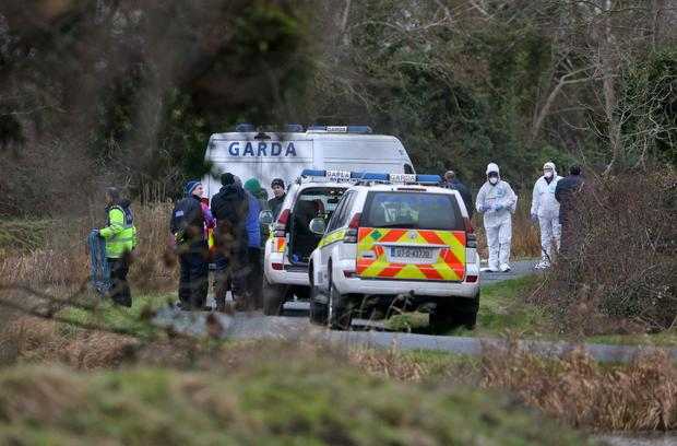 Grim find: Gardaí at the scene on the canal near Sallins, Co Kildare, where the remains of Kenneth O'Brien were found. Photo: Colin Keegan