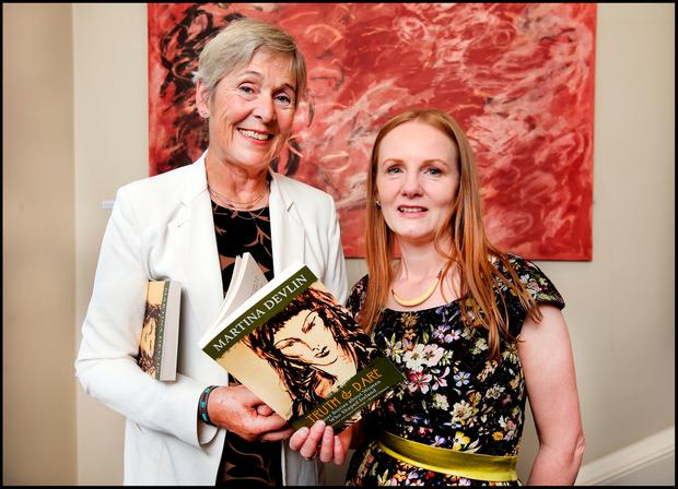 New book: Former Labour TD Liz McManus with Martina Devlin at the launch of 'Truth & Dare' at the Irish Writers Centre in Dublin. Photo: Steve Humphreys