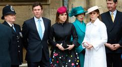 WINDSOR, ENGLAND - APRIL 1: Jack Brooksbank, Princess Eugenie, Princess Anne, Princess Royal, Princess Beatrice and Vice Admiral Sir Timothy Laurence arrive for the Easter Mattins Service at St. George's Chapel at Windsor Castle on April 1, 2018 in Windsor, England. (Photo by Tolga Akmen - WPA Pool/Getty Images)