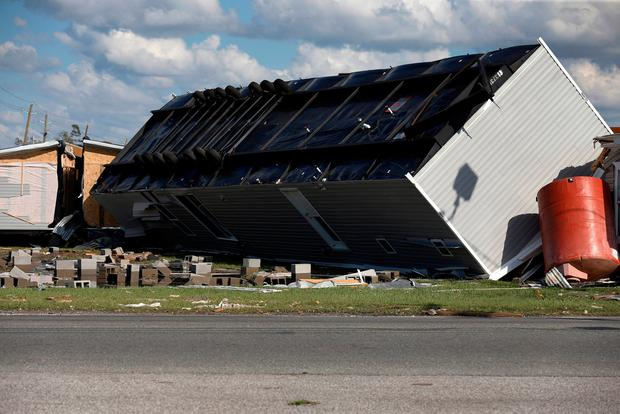 An overturned trailer home damaged by Hurricane Michael is pictured in Springfield, Florida, U.S. October 11, 2018. REUTERS/Jonathan Bachman