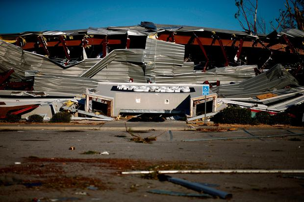 A collapsed building damaged by Hurricane Michael is pictured in Callaway, Florida, U.S. October 11, 2018. REUTERS/Jonathan Bachman