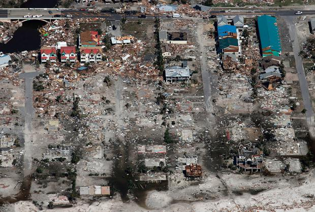 An entire neighborhood between 40th Street and 42nd Street in Mexico Beach, Fla. was wiped out by Hurricane Michael, Thursday, Oct. 11, 2018. (Michael Snyder/Northwest Florida Daily News via AP)
