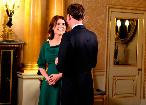 Princess Eugenie and Jack Brooksbank were interviewed by ITV This MorningÕs husband and wife duo Eamonn Holmes and Ruth Langsford who quizzed them about wedding jitters, ahead of their big day on Friday. |: Royal Communications/PA Wire