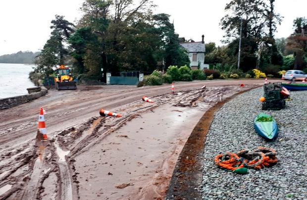 Minor mudslide pictured at Carrigaloe at bottom of Donegal Hill, Cork (Photo: Ken Curtin)