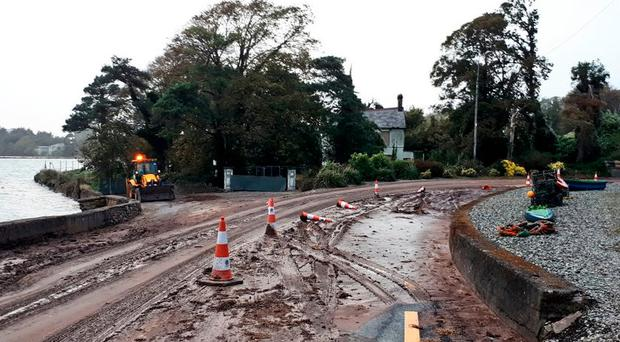 Pictured: Locals wake up to mudslide after Storm Callum hits overnight