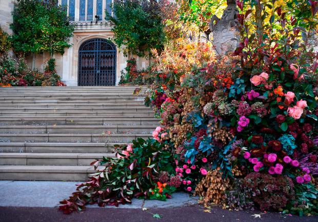 The fallen floral display which has been blown over by the high winds on the West Steps outside St George's Chapel ahead of the wedding of Princess Eugenie to Jack Brooksbank at St George's Chapel in Windsor Castle. PRESS ASSOCIATION Photo. Picture date: Friday October 12, 2018. See PA story ROYAL Wedding. Photo credit should read: Victoria Jones/PA Wire