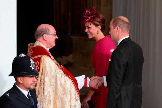 The Duke and Duchess of Cambridge arrive for the wedding of Princess Eugenie to Jack Brooksbank at St George's Chapel in Windsor Castle