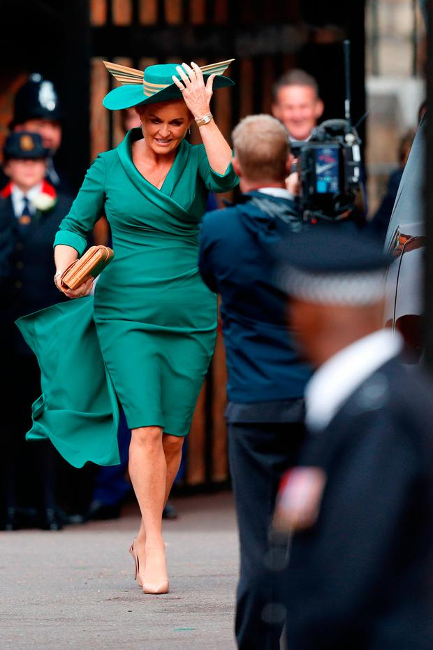 Sarah, Duchess of York, mother of Britain's Princess Eugenie of York, arrives to attend the wedding of Britain's Princess Eugenie of York to Jack Brooksbank at St George's Chapel, Windsor Castle, in Windsor, on October 12, 2018. (Photo by Adrian DENNIS / POOL / AFP)ADRIAN DENNIS/AFP/Getty Images
