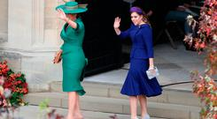 Sarah Ferguson and Princess Beatrice arrive for the wedding of Princess Eugenie to Jack Brooksbank at St George's Chapel in Windsor Castle