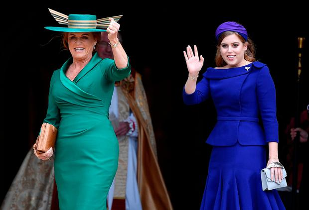 Princess Beatrice and Sarah Ferguson arrive at Windsor Castle for the royal wedding of Britain's Princess Eugenie and Jack Brooksbank in Windsor, Britain October 12, 2018. REUTERS/Toby Melville