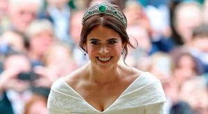 Princess Eugenie beamed with excitement as she arrived at St George's Chapel