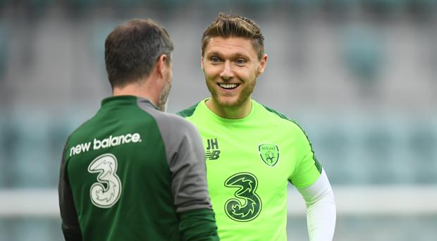 Jeff Hendrick chatting with Roy Keane