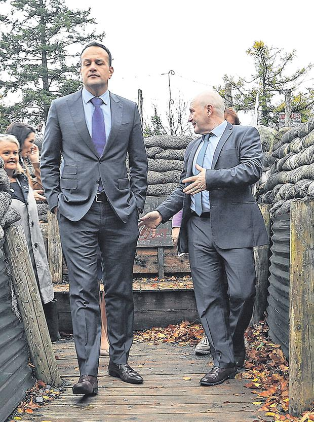 In the trenches: Taoiseach Leo Varadkar makes his way through a life size replica of a World War I trench at Cavan County Museum, Ballyjamesduff yesterday morning. Photo: Lorraine Teevan