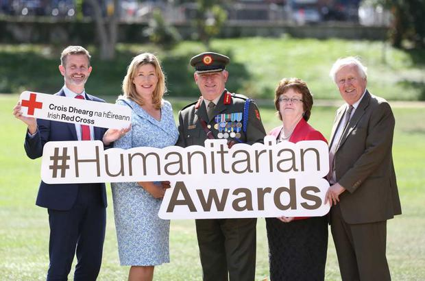 At the launch for the Irish Red Cross Humanitarian Awards which take place in the Clayton Hotel, Burlington Road on 24 November were; Liam O'Brien, Director of Strategy & External Affairs Vodafone, Mary Rose Burke, CEO Dublin Chamber, Peter O'Halloran, Brigadier General Irish Defence Forces, Hannah McGee, Dean & Chief Academic Officer at RCSI and Dr Niall Holohan, Chairman of the Arab Irish Chamber of Commerce. Entries for the awards close on Monday 15 October.