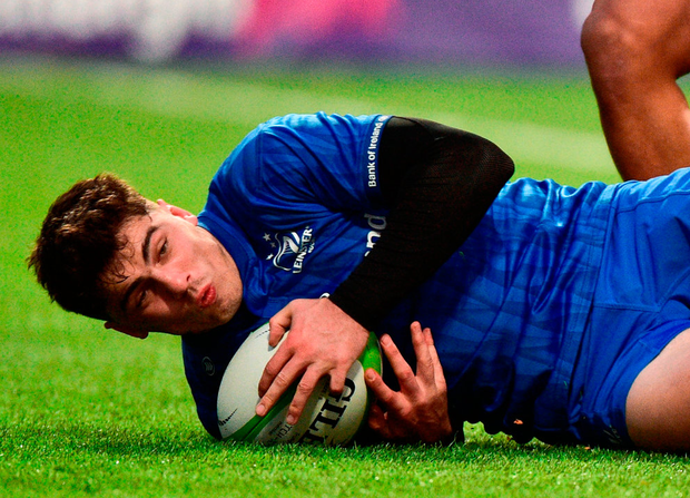Leinster A's Jimmy O'Brien scores a try during the Celtic Cup match against Munster A. Photo: Matt Browne/Sportsfile