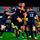 James Lowe of Leinster celebrates with team-mates after scoring his side's third try during the Heineken Champions Cup Pool 1 Round 1 match between Leinster and Wasps at the RDS Arena in Dublin. Photo by Ramsey Cardy/Sportsfile