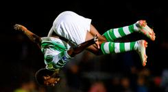 Dan Carr of Shamrock Rovers celebrates after scoring his side's first goal during the SSE Airtricity League Premier Division match between St Patrick's Athletic and Shamrock Rovers at Richmond Park in Dublin. Photo by Ben McShane/Sportsfile