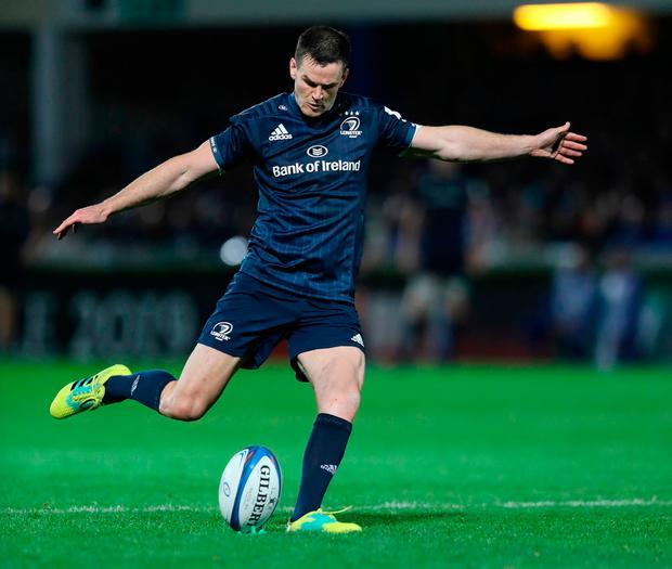 Leinster's Jonny Sexton kicks a penalty during the Champions Cup match at the RDS Arena. Photo: Lorraine O'Sullivan/PA