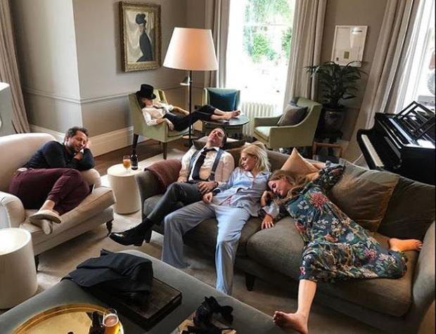 'Post Royal wedding' Derek Blasberg, Cara Delevingne, Dave Gardner, Poppy and Chloe Delevingne - PIC: Liv Tyler Instagram