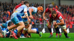 13 October 2018; CJ Stander of Munster goes over to score his side's first try during the Heineken Champions Cup Pool 2 Round 1 match between Exeter Chiefs and Munster at Sandy Park in Exeter, England. Photo by Brendan Moran/Sportsfile