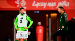 11 September 2018; Matt Doherty and Republic of Ireland assistant coach Steve Guppy prior to the International Friendly match between Poland and Republic of Ireland at the Municipal Stadium in Wroclaw, Poland. Photo by Stephen McCarthy/Sportsfile