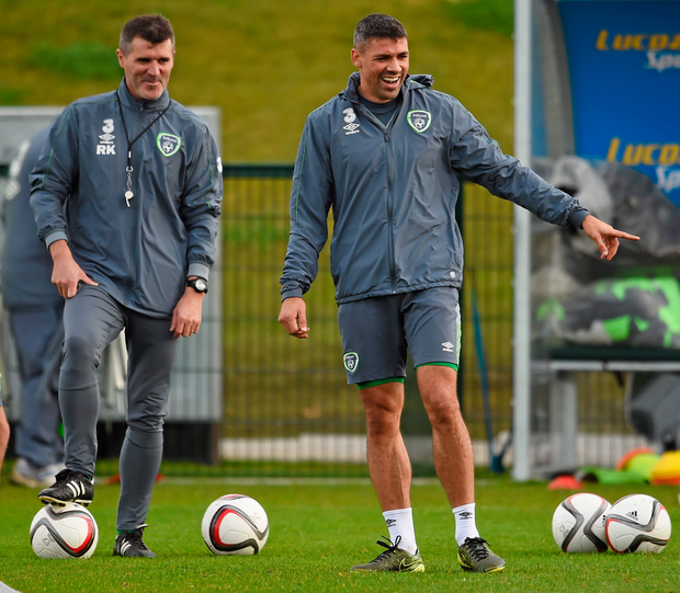 11 November 2015; Republic of Ireland's Jonathan Walter, right, and assistant manager Roy Keane during squad training. Republic of Ireland Squad Training, National Sports Campus, Abbotstown, Co. Dublin. Picture credit: Stephen McCarthy / SPORTSFILE