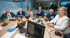 FIGHTING TALK: Candidates Peter Casey, Gavin Duffy, Joan Freeman, Sean Gallagher, Michael D Higgins and Liadh Ni Riada in RTE. Photo: Tony Gavin
