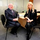 PRESIDENTIAL: Michael D Higgins with Niamh Horan. Photo: David Conachy