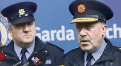 Closed doors: David Taylor (left) and former Garda Commissioner Martin Callinan. Photo: RollingNews.ie