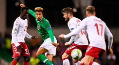 13 October 2018; Callum Robinson of Republic of Ireland in action against Denmark players, from left, Pione Sisto, Lasse Schöne and Jens Stryger Larsen during the UEFA Nations League B group four match between Republic of Ireland and Denmark at the Aviva Stadium in Dublin. Photo by Stephen McCarthy/Sportsfile