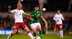 13 October 2018; Simon Kjær of Denmark in action against Shane Long of Republic of Ireland during the UEFA Nations League B group four match between Republic of Ireland and Denmark at the Aviva Stadium in Dublin. Photo by Harry Murphy/Sportsfile