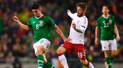 13 October 2018; Callum O'Dowda of Republic of Ireland in action against Lasse Schöne of Denmark during the UEFA Nations League B group four match between Republic of Ireland and Denmark at the Aviva Stadium in Dublin. Photo by Ramsey Cardy/Sportsfile