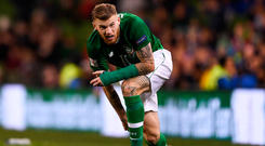 13 October 2018; James McClean of Republic of Ireland reacts during the UEFA Nations League B group four match between Republic of Ireland and Denmark at the Aviva Stadium in Dublin. Photo by Harry Murphy/Sportsfile