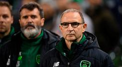 DUBLIN, IRELAND - OCTOBER 13: Martin O'Neill, Manager of Ireland looks on during the UEFA Nations League B group four match between Ireland and Denmark at Aviva Stadium on October 13, 2018 in Dublin, Ireland. (Photo by Mike Hewitt/Getty Images)