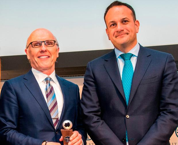 MEETING: Leo Varadkar met David McCourt this year to present him with Science Foundation Ireland's St Patrick's Day Science Medal