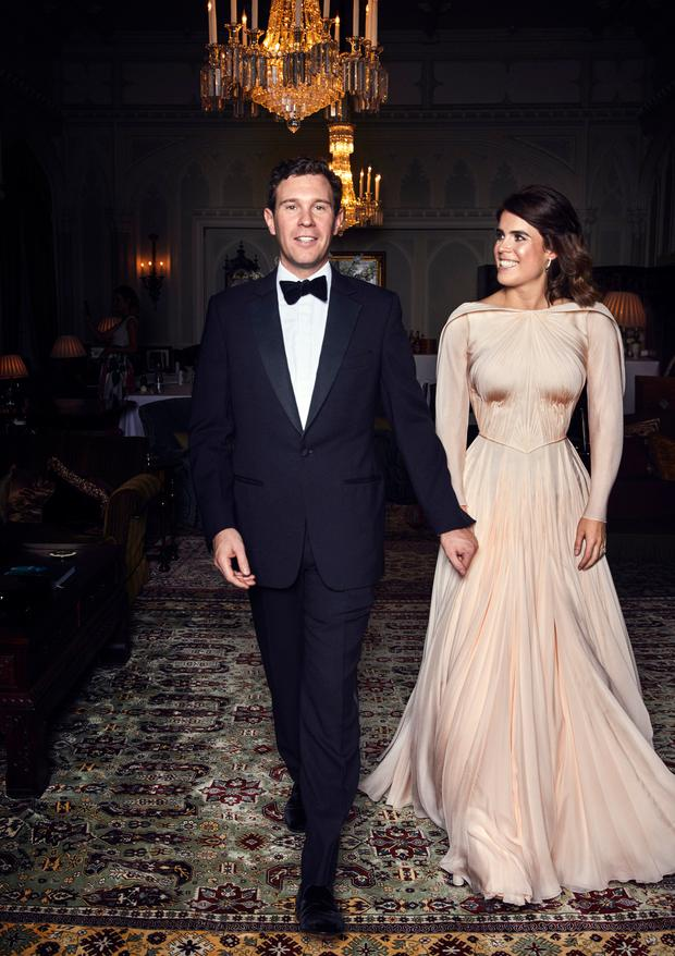 In this handout image provided by the Royal Communications, Princess Eugenie and Mr Jack Brooksbank at Royal Lodge ahead of the private evening dinner, following their wedding on October 12, 2018 in London, United Kingdom. (Photo by Alex Bramall/Royal Communications via Getty Images)