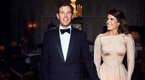 Princess Eugenie and Mr Jack Brooksbank at Royal Lodge ahead of the private evening dinner, following their wedding on October 12, 2018 in London, United Kingdom. (Photo by Alex Bramall/Royal Communications via Getty Images)